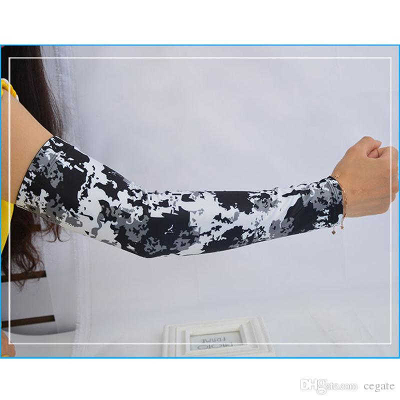 Ice Silk Cycling Arm Sleeve Elbow Pad Fitness Tactical Camo Basketball Running Bicycle Arm warmers Summer Sports Safety men