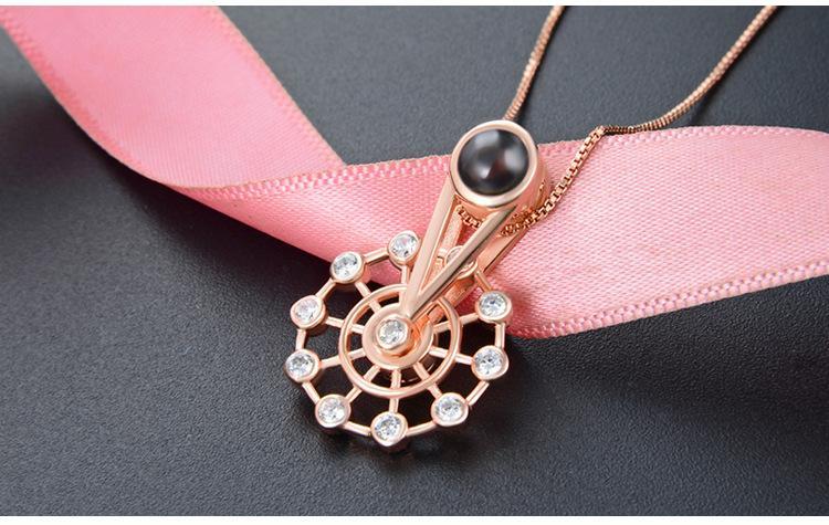regalo del día de los mejores S925 collares CZ plata de ley pendiente de los collares de plata de la CZ de las mujeres de calidad Valentín rosa bañados en oro CZ gargantilla DDS3444