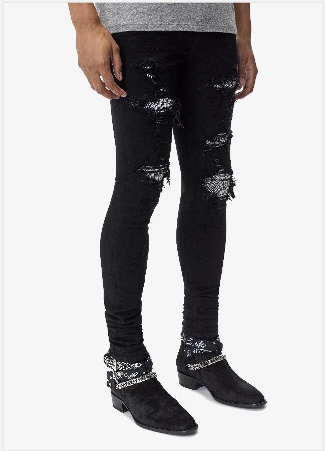 Мужские джинсы дизайнер Классические прямые джинсы Байкер Повседневный брюки Hole Cowboy известная марка молния Tear патч Горячие продажи США Размер 28-40