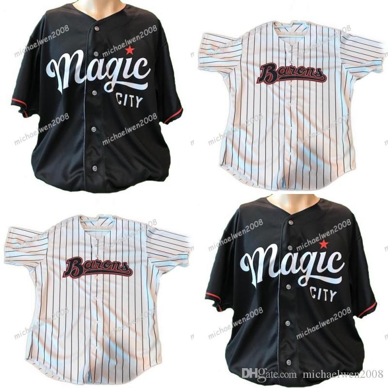 남성 버밍엄 남작 화이트 블랙 사용자 정의 더블 스티치 셔츠 야구 유니폼 고품질