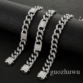 New Personalized Silve Plated Bling Diamond Mens Coffee Bean Link Chain Bracelets Bangle Bracelet Jewelry Bijoux Gifts for Men Guys