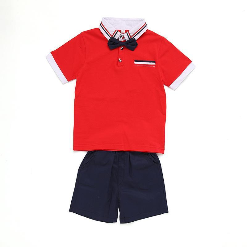 Crianças Kindergarten School Uniform Wear Garden roupa do verão Aluno Classe roupa Pure Suit Cotton Movimento 0201