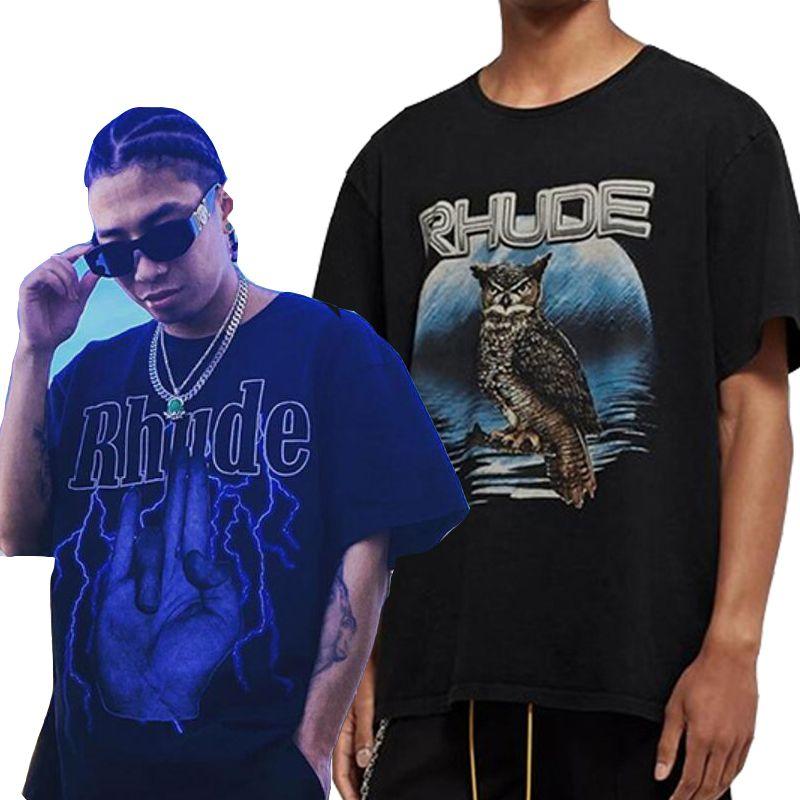 2020ss RHUDE T-shirts Streetwear Casual Couple High Street T-shirt de algodão Top Tees Rhude Homens de manga curta camiseta