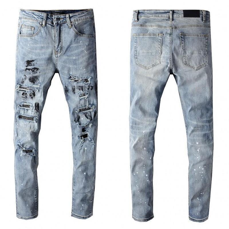 venta caliente para hombre apenado del motorista Rasgado Vaqueros Slim Fit motorista de la motocicleta del dril de algodón para los hombres del diseñador de moda Hip Hop Jeans para hombre