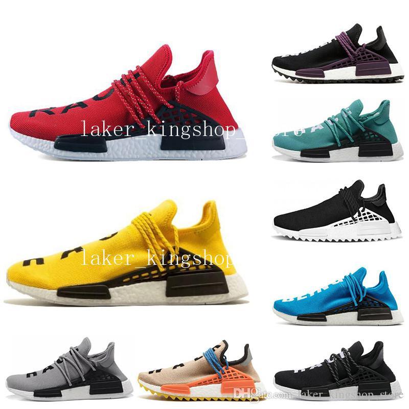 Erkekler kadınlar için ucuz İnsan Yarışı koşu koşucu ayakkabı pharrell williams NERD SIYAH beyaz siyah mavi yeşil krem erkek trainer spor sneakers