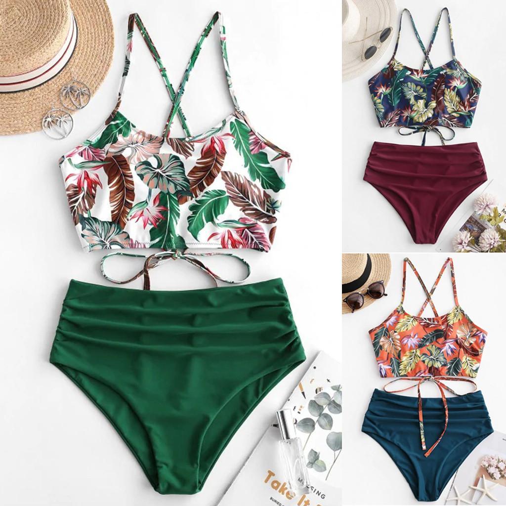 Sexy Snakeskin Femme Bohemian Flower Maillot De Bohemian Summer Polyester Bikini Ensemble de maillots de bain gratuits Maillot de bain Green Swimsuit N ° 3 femmes nager