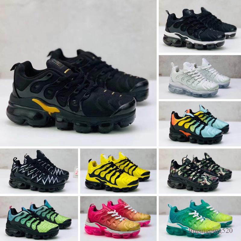 Nike air Vapormax TN PLUS Плюс Tn для новорожденных детей Обувь для бега тройной черный новорожденный малышей Дети Мальчики Девочки Кроссовки Кроссовки Дошкольные
