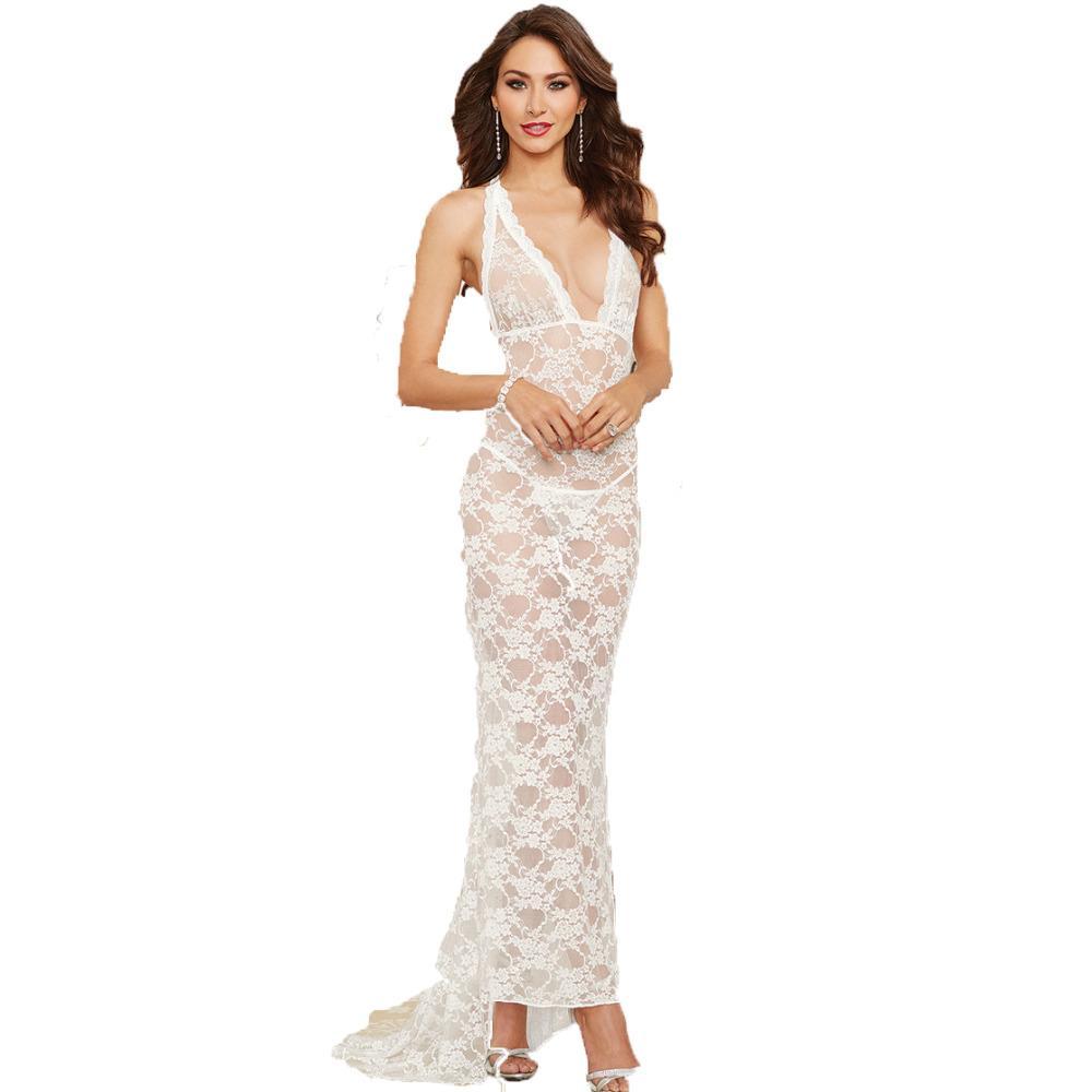 Long Slip Women White Lace Full Slips Perspective Sexy Slips Hot Intimates Maxi Female Petticoat Nightgown