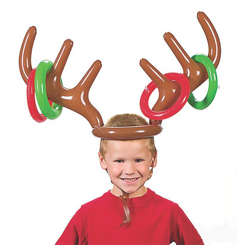 Inflatable Deer Ferrule Reindeer Antler Balloon Christmas Party Game Toys Children Favors Hat Ring Toss Xmas Holiday Party Birthday Decor