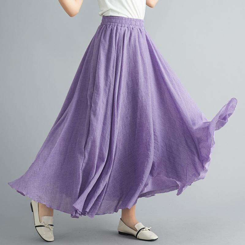 A Real Shot Spring and Summer Style Artistic Large Size Cotton and Linen Skirt Women Elastic Waist Linen a Word Solid Color Long Style