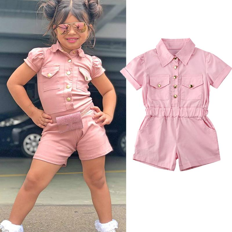 2020 Fashion Infant Kids Girls Jumpsuits Button Solid Short Sleeve Romper Playsuits Outfits 1-6Y Summer Outfits