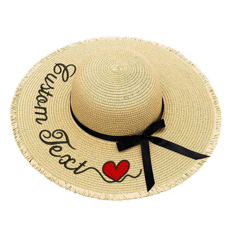 Вышивка персонализированных пользовательских текста Ваше имя Женщины ВС Hat кисточкой Большой Брим Соломенная шляпка Открытый пляж Летний Cap