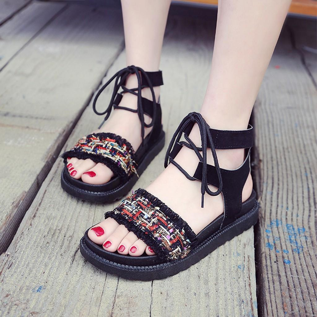platform sandals Flats Ankle Strap Bohemia Ladies Sandals Elastic Flatform Sliders Shoe chaussures femme Zapatos De Mujer summer