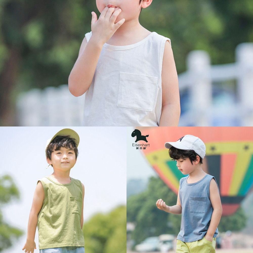 Top-Weste Weste Sommer Jungen Baumwollsleeveless T-Shirt Kinder-Sommer-dünne Kinder-Top-Mode