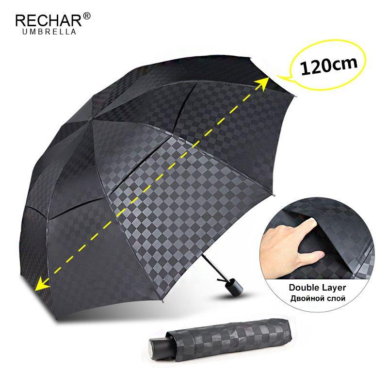 Double Layer scuro griglia grande ombrello pioggia Donne 3Folding 10Rib antivento uomini d'affari ombrello da viaggio per la famiglia Ombrello Ombrellone T200117