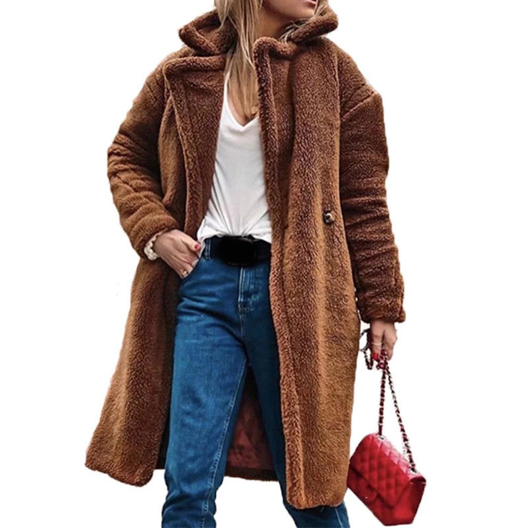 Faux Fur,Women Winter Warm Thick Coat Solid Caps Hooded Wool Jacket Cardigan Loose Coat