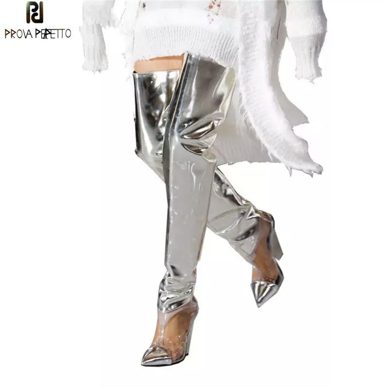 Prova PERFETTO Подиум обувь Silver ПВХ Очистить высокие сапоги женщин сексуальный Шип клин Высокие каблуки партии обуви Мода Botas Mujer