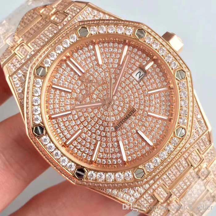 Designer-Uhr-volle Diamant-Royal Oak 15400 15500ST Rose Gold Master Iced out-automatische Uhr-hochwertige Herrenmode-Uhr-Armbanduhr