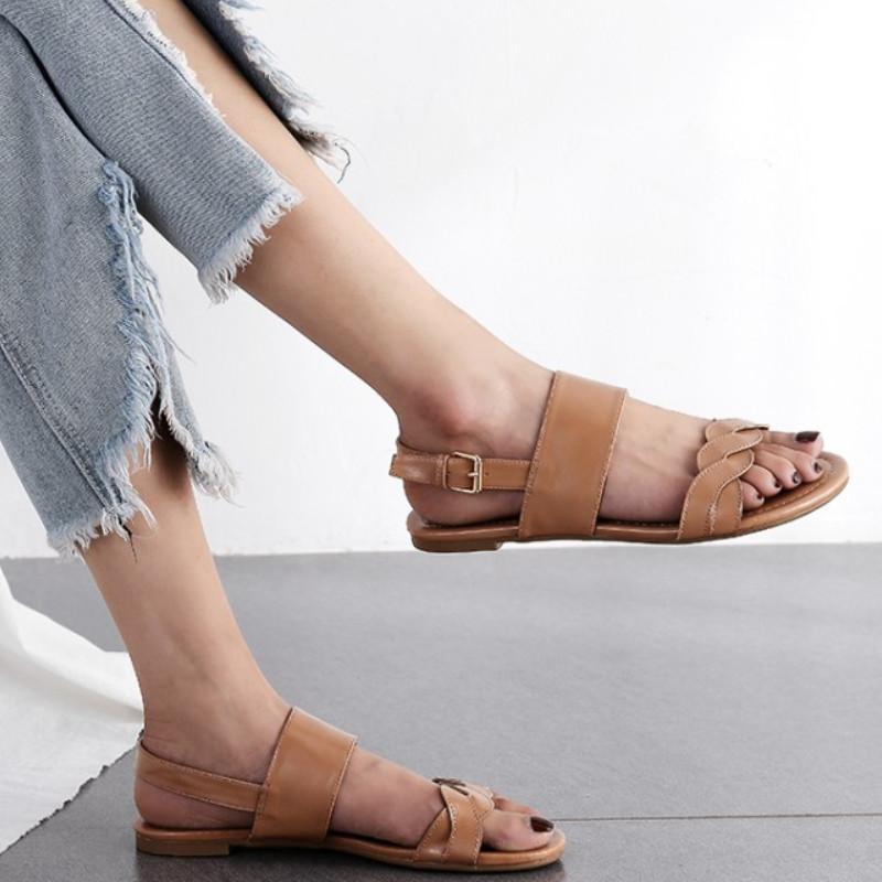 Fanyuan grande taille 43 femmes sandales plates boucle femme simple confort été la mode de Rome chaussures de sport