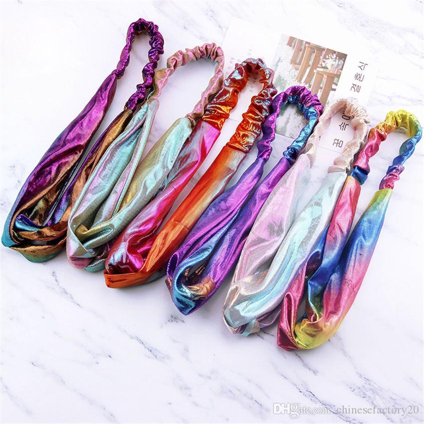 Panno Laser ragazza Gradiente fascia arcobaleno di metallo incrociati di capelli di torsione delle donne della fascia di accessori faccia Headwrap Color Magic moda Head Band