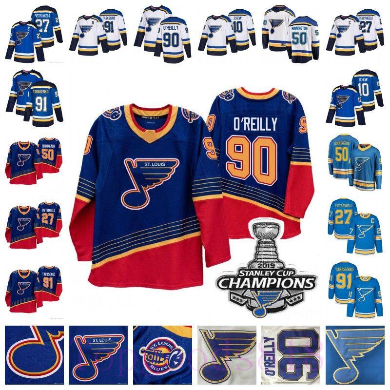 2019 Stanley Cup Campeões Vladimir Tarasenko Ryan O'Reilly St. Louis Blues Jersey Binnington Alex Pietrangelo Jaden Schwartz Brayden Schenn