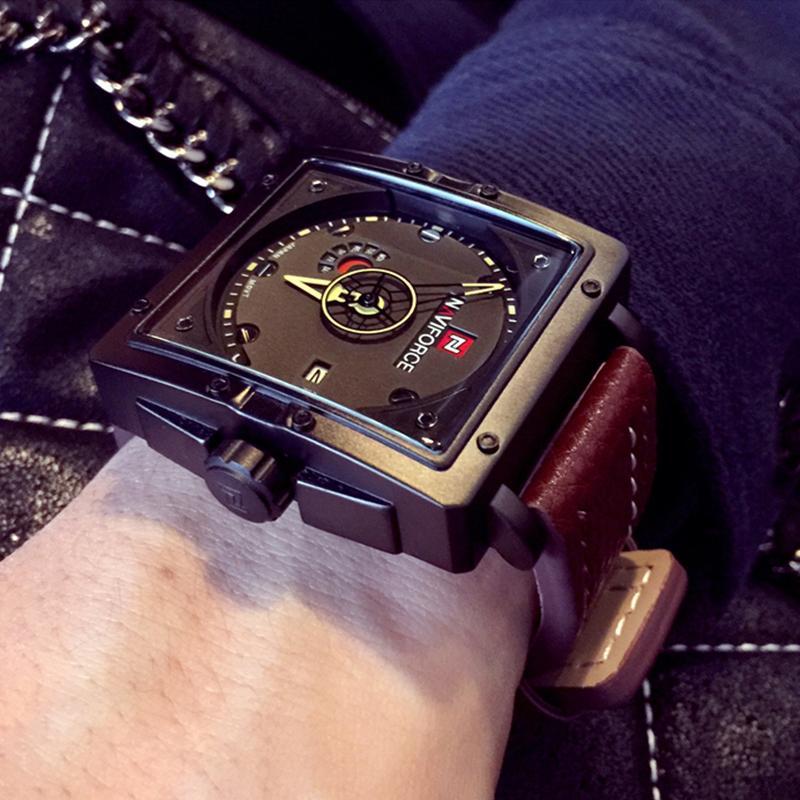 Naviforce Erkekler Kuvars Spor Saatler Moda Üst Marka Deri Kayış Yaratıcı Su Geçirmez Saatı Adam Saat Relogio Masculino Y19051403