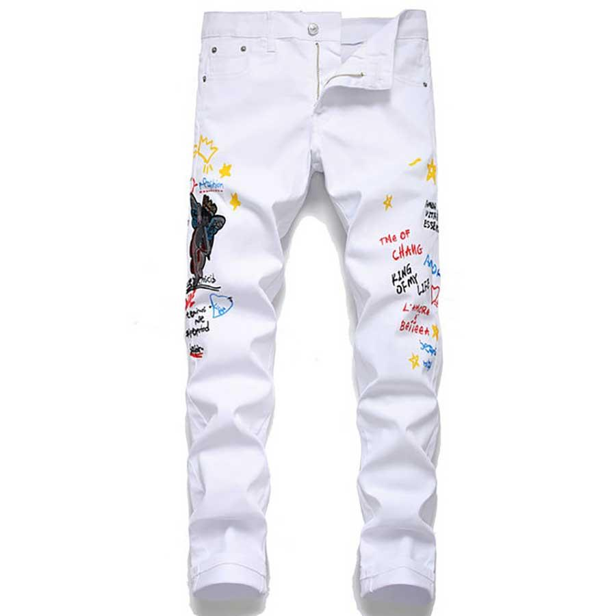 Классические Тонкий Мужские джинсы дизайнерские джинсы Fit Pants Straight Leg мотоцикла Потрошитель Zipper полная длина Повседневный штаны Размер