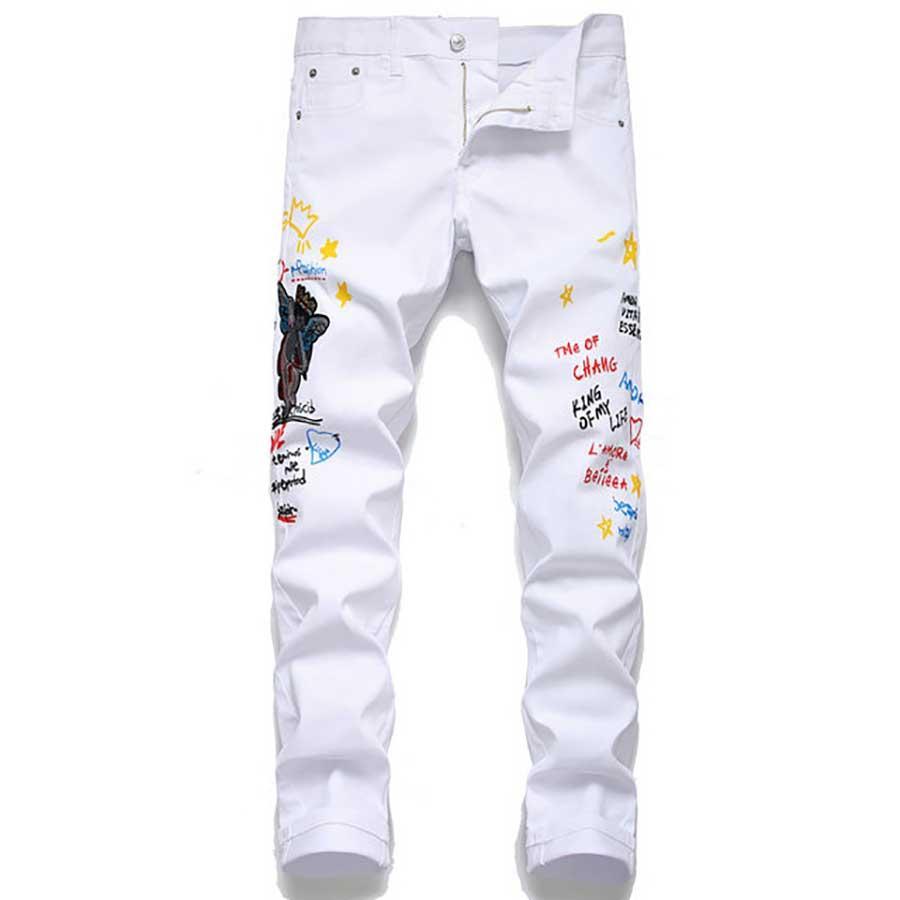 Klassische dünne Mens Jeans Designer Jeans Fit gerades Bein-Motorrad-Ripper Reißverschluss Ganzkörper Hosen der Männer beiläufige Hosen Größe