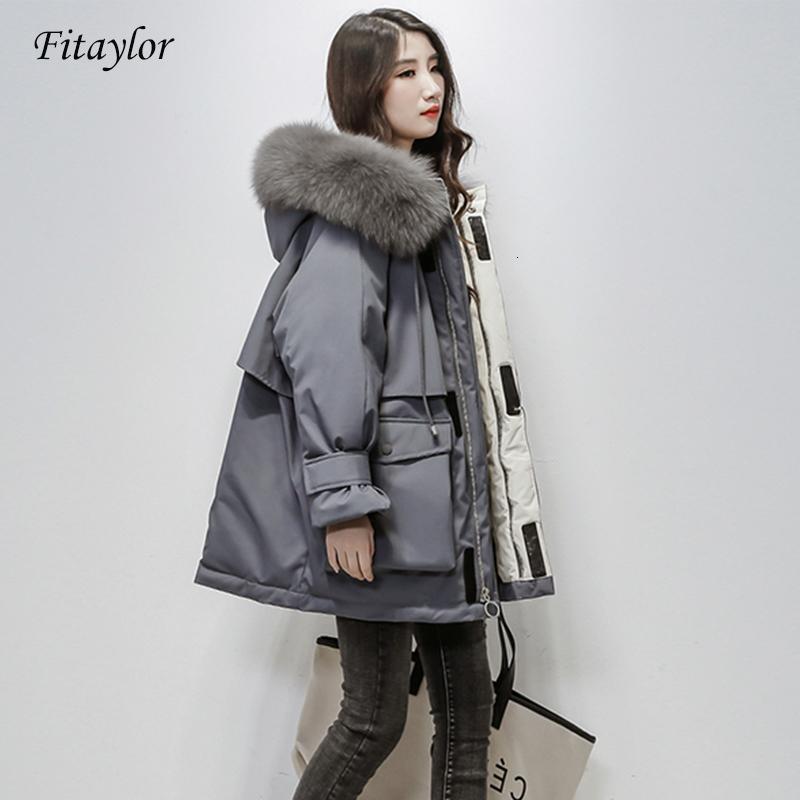 Fitaylor Большие Natural Fox Fur с капюшоном Зимняя куртка Женщины 90% белая утка вниз Толстые Parkas Теплый Sash Tie Up Snow Coat SH190928