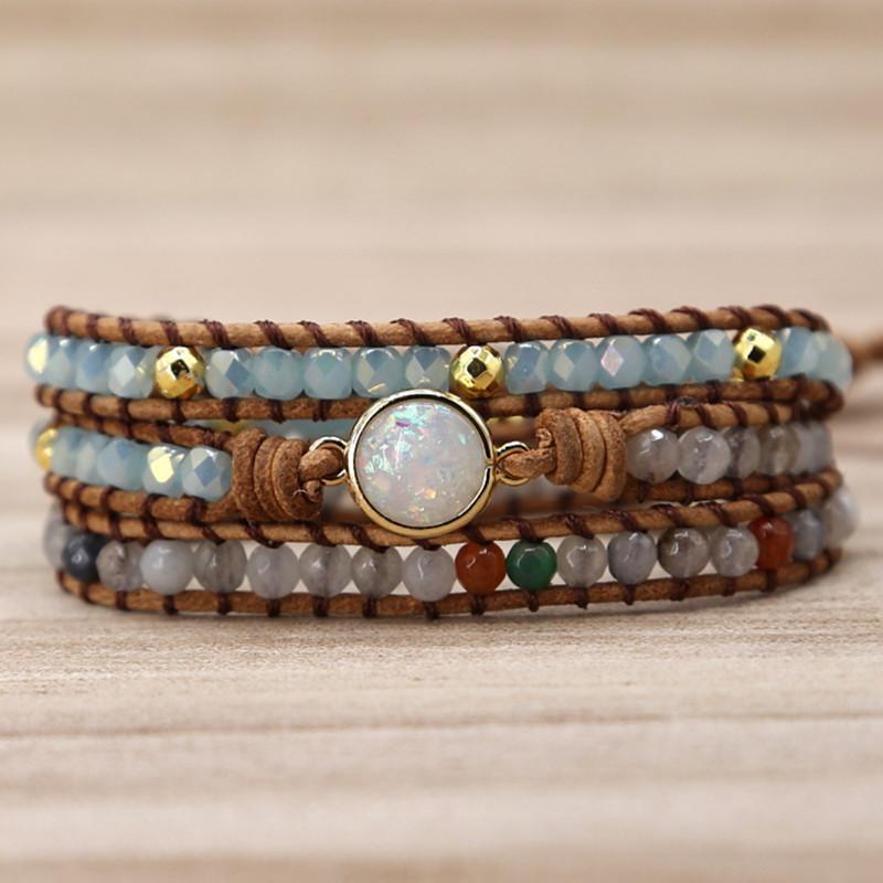 En gros Drop Shipping Main Naturel Pierre Cristal Bracelet En Cuir Wrap Perles Bracelet pour Femmes Hommes Armure Opale Bijoux