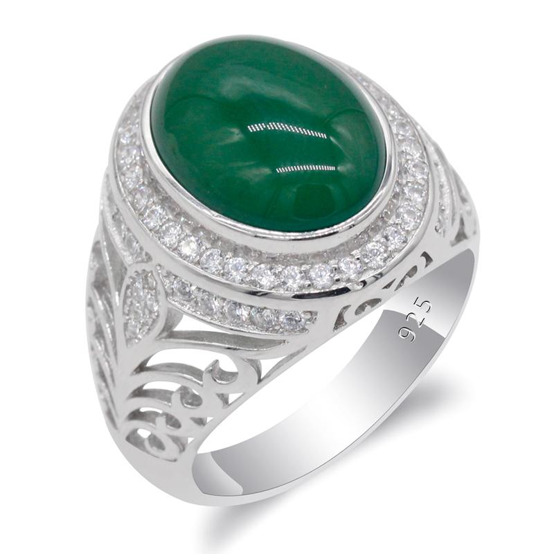 CZ Türk Gümüş Fine Jewelry ile Erkek 925 Gümüş Oval Büyük Doğal Taş Openwork Erkekler Ring için Yeşil Akik Yüzük