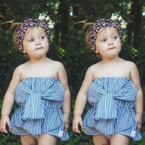 2018 Новый Летний Стиль Baby Girl Бандо Комбинезон Синий Полосатый Белый Милый Baby Girl Бантом Хлопок Комбинезон Комбинезон Повязка На Голову Одежда