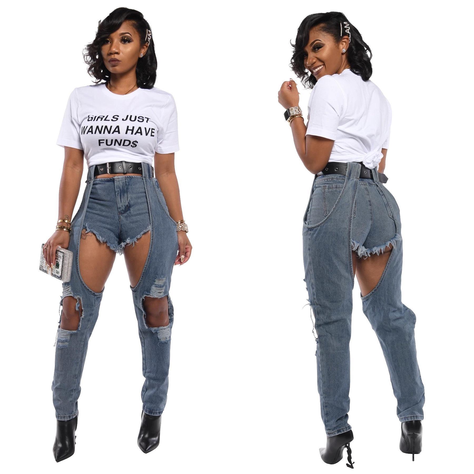 Nuova Plus Size 2XL jeans strappati Womens irregolare strappato i pantaloni del denim del foro dei jeans delle donne Pantaloni a vita alta Tuta femminile Torn
