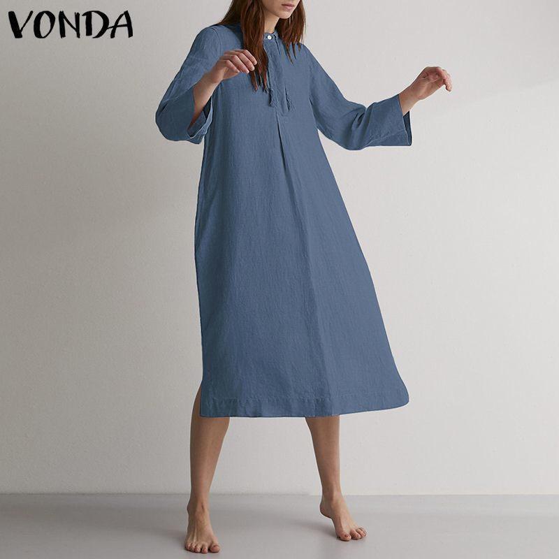 Vonda Vintage Dress 2019 Autunno Primavera Emale Casual Bottone allentato Abiti a-line Donna O Collo Abito Plus Size Solid Abiti 5xl Y19073101