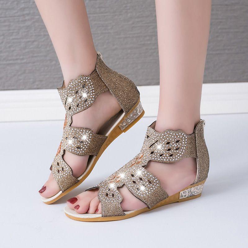 Novo Luxo cristal Summer Fashion Bling calçados femininos selvagens Sexy romanos retro sapatos boca de peixe plana sandálias zip oco conforto