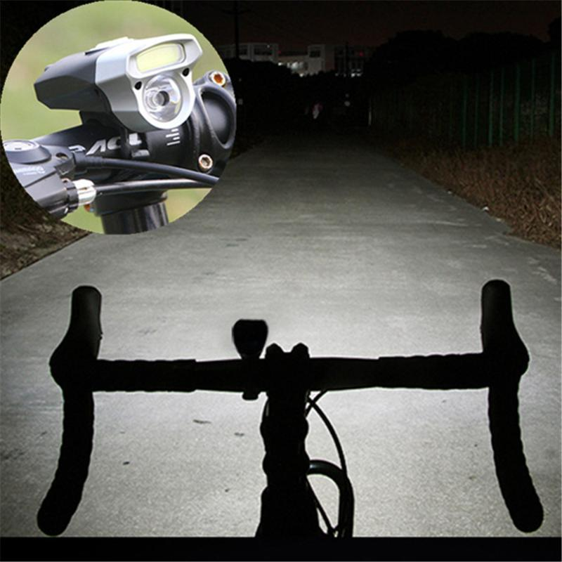 In bici USB ricaricabile della luce della bici doppia lampada della luce della testa della bicicletta LED + COB biciclette Set USB Accessori 31