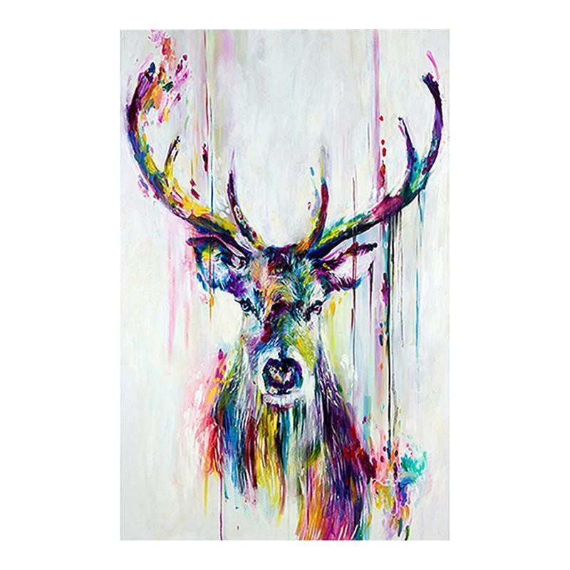 Watercolored Rotwild-Kopf-Inkjet-Leinwand-Druck Abstrakte Tierbild Frameless Leinwand Inkjet-Ölgemälde-Wand-Kunst