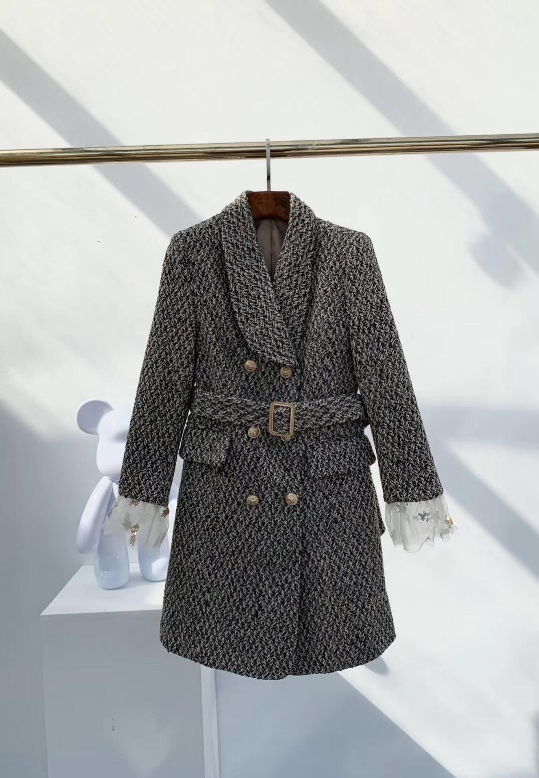 Конструктор женщин Plaid Blazer длинный толстый марлевые рукава 2019 осень зима Новый Марка куртка для Леди Мода Плед Женщины Luxury одежда S - L