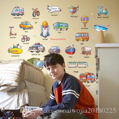 20190621 Decoração da parede do carro bonito dos desenhos animados do quarto das crianças inglesas