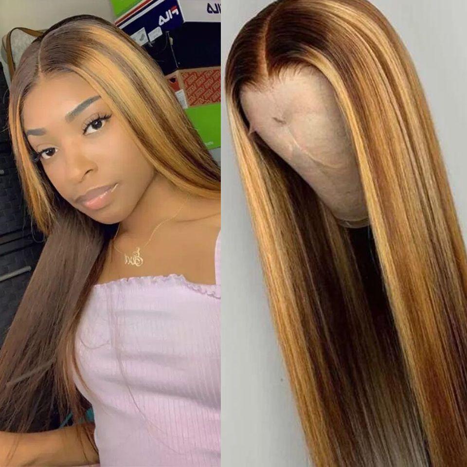 Ombre Destaque la peluca del frente del cordón de Brown Honey Blonde color de alta definición completa humana pelucas de pelo recto de 360 encaje frontal de la peluca de Remy