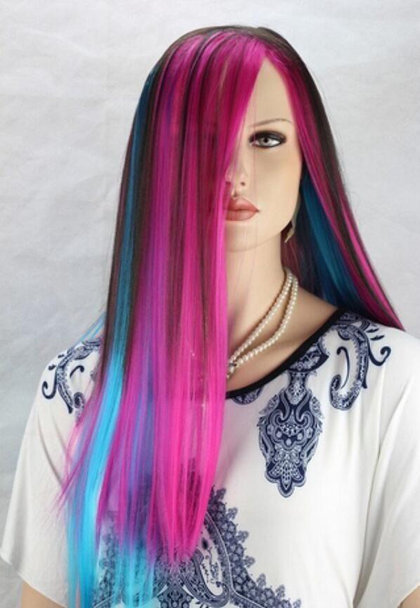 Бесплатная доставка женские длинные волосы парик вьющиеся синтетические аниме косплей ну вечеринку полный парики