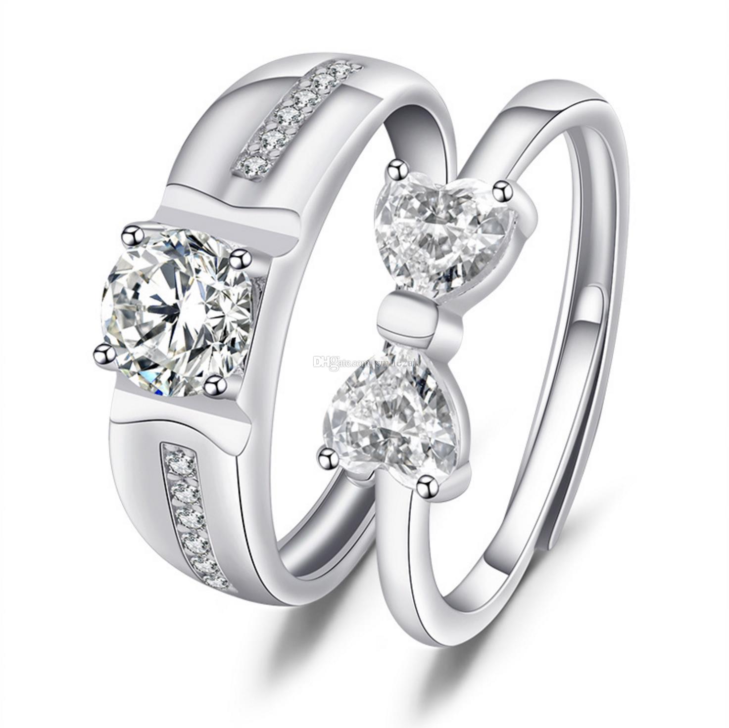 Beyaz Kopya Diamond ve 925 Saf Gümüş Lover Çift Yüzük Severler İçin Ayarlanabilir Açık Ağız Bowknot şeklindeki