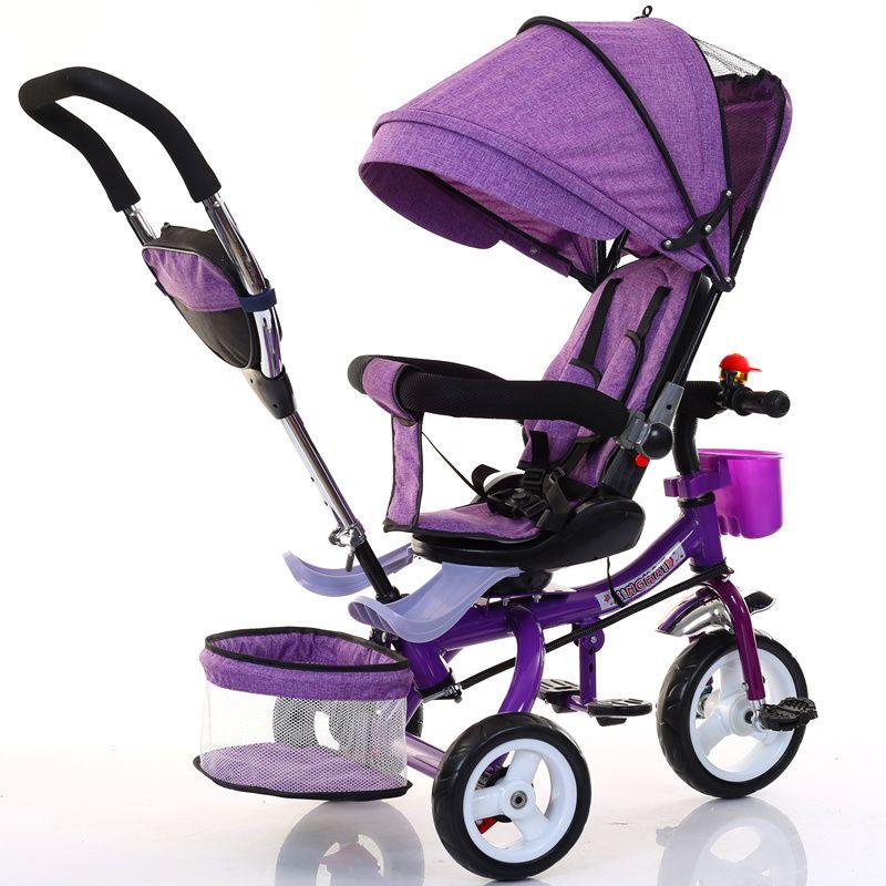 طفل دراجة ثلاثية دراجة قابلة للطي ثلاثة عجلة دراجة طفل عربة طفل مقعد دوار نقل يدفع باليدين عربة عربة الأطفال للأطفال عربة
