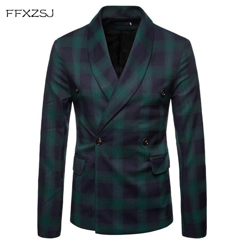 FFXZSJ Moda Erkekler Blazer Casual Suit Dar Kesim Ceket Erkekler İş Sonbahar Erkek Casual Yeşil Yaka çift Breasted