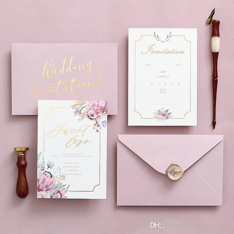 2019 New Rose Gold Glitter Laser Cut Convites Cartões Com Fitas bege para o chá de panela Wedding Engagement graduação aniversário