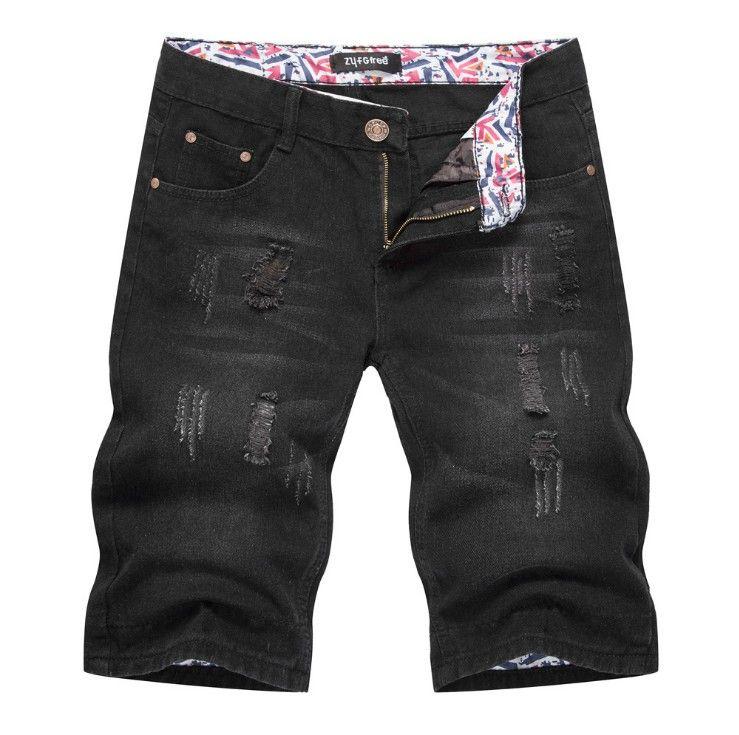 Джинсовые шорты мужские черные брюки длиной до колен свободные дырочные джинсы брюки черные джинсы мужские короткие новые