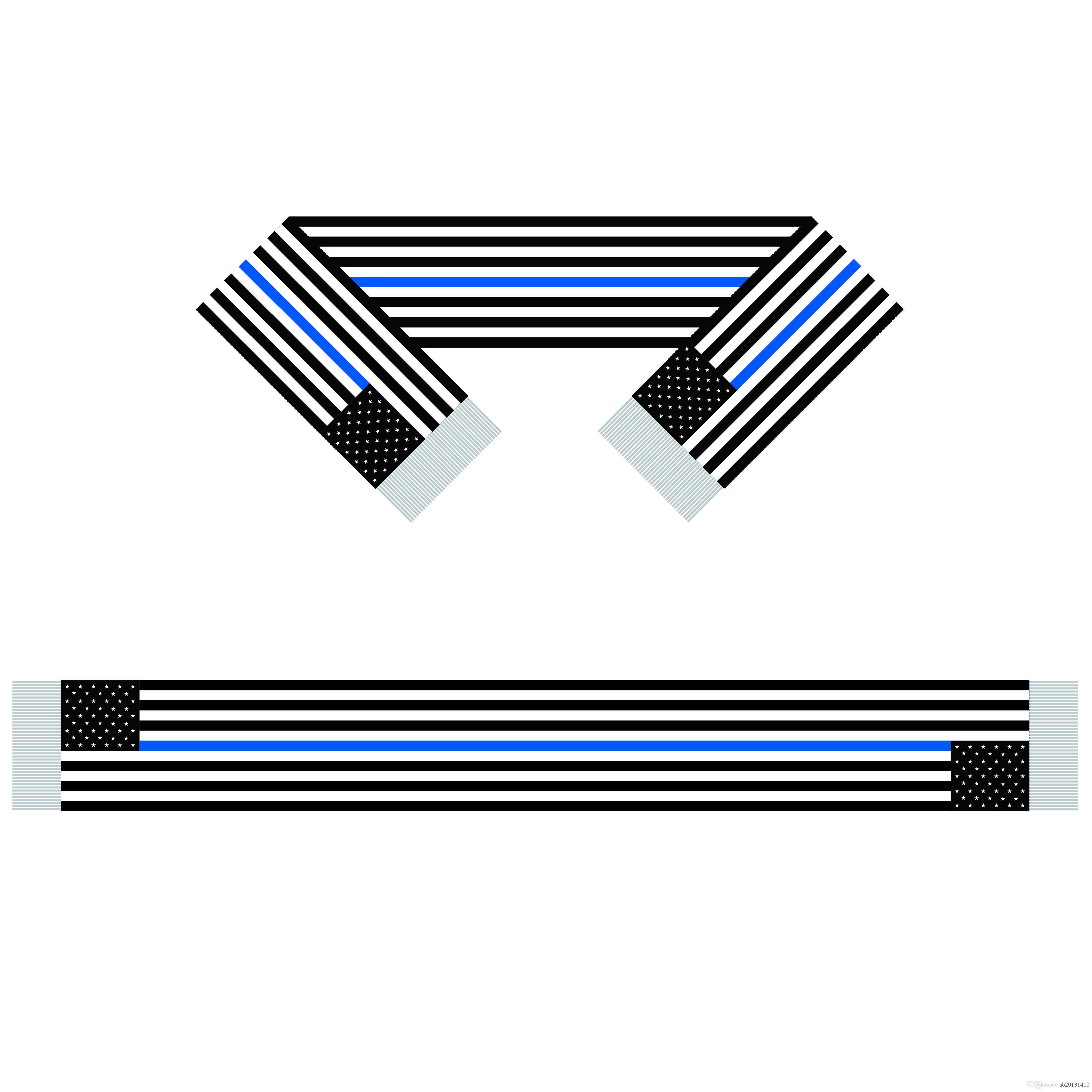 Linha Azul EUA Scarf Bandeira 15 * 150CM 100% poliéster, bandeira Scarf Mundial