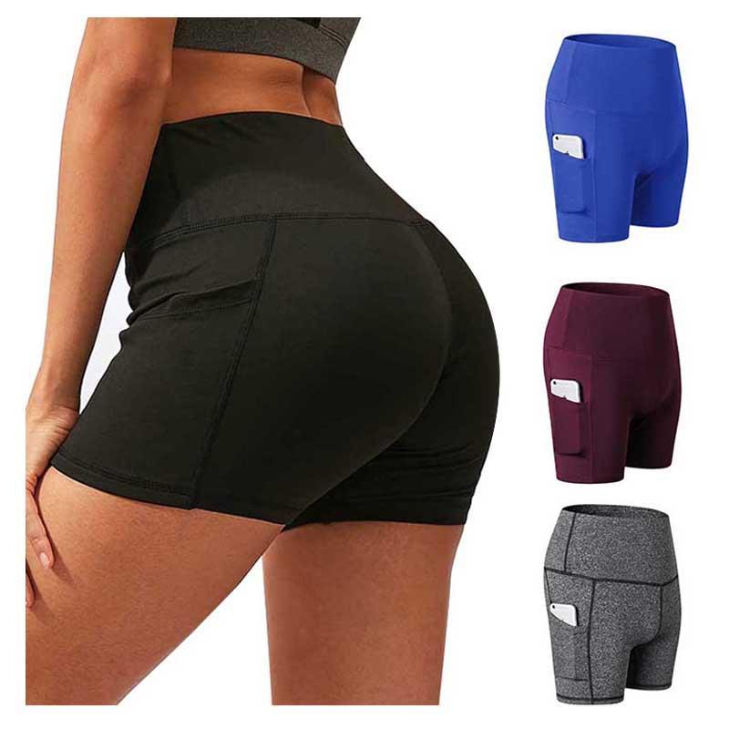 Señoras de la yoga pantalones cortos de verano de cintura alta de bolsillo ejercicios de fitness polainas de las mujeres elásticos de secado rápido Deportes Pantalones cortos para correr 7 colores 050411