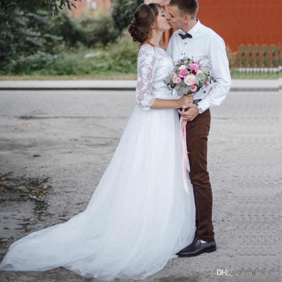 La mitad de encaje vestidos de novia de manga primavera Pequeño cuello redondo de la tapa del cordón de lujo falda de tul una línea barrer de tren vestidos de novia Personalizar