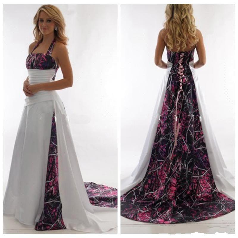 Elegant Halter Camo A Line Wedding Dresses 2020 Satin Ruched Sweep Train Bridal Wedding Gowns With Lace Up BC3340